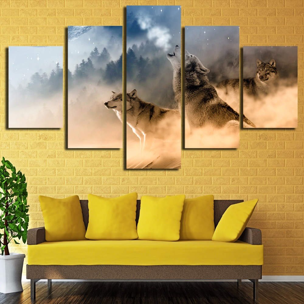 5 piece Canvas painting New Three Wolves In The Mountains Roar Wall ...