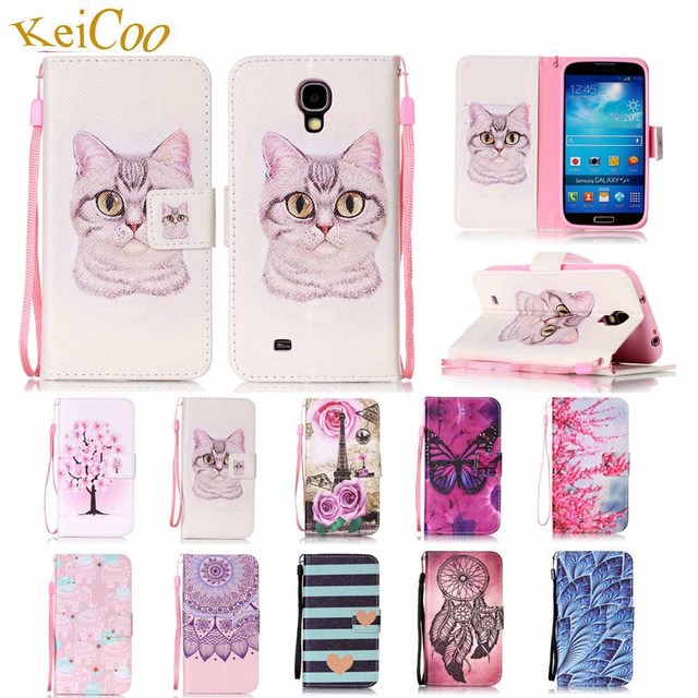For SAMSUNG Galaxy S4 GT-I9505G i9506 Duos Brand Book Flip PU Leather Cases For Galaxy S IV 4 GT-I9500 Cute Card Holder Covers