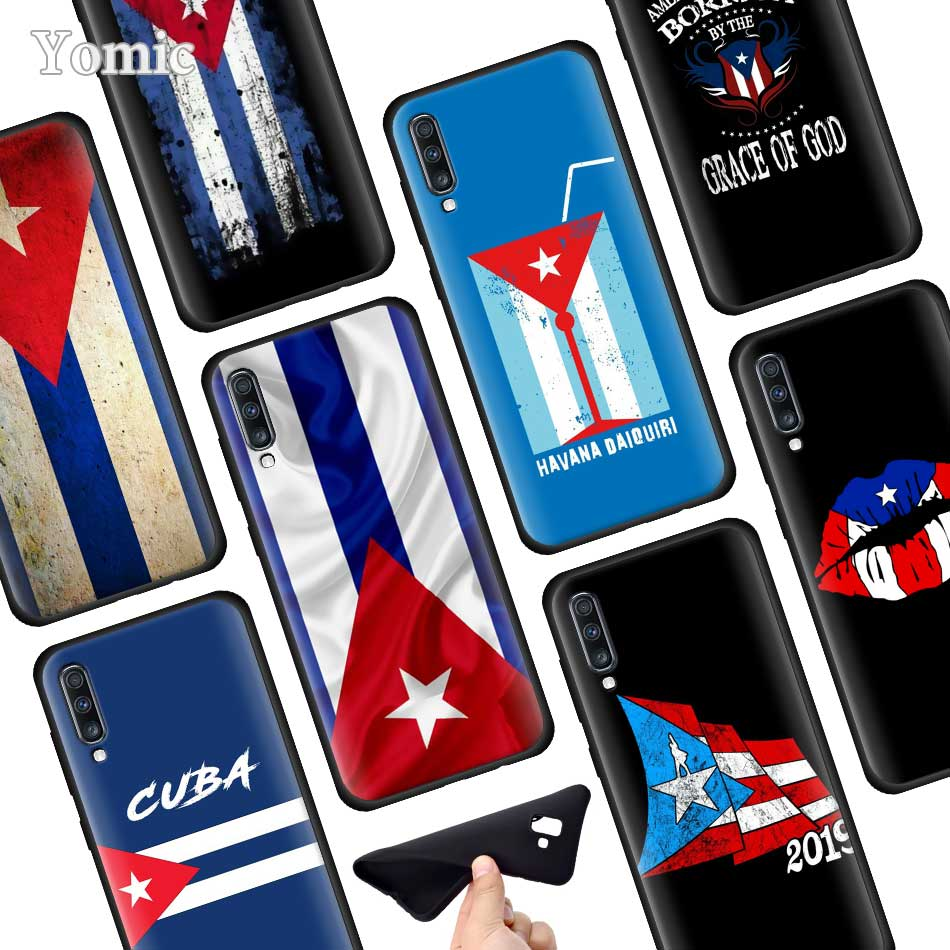 Silicone Soft Phone Case for Samsung Galaxy A50 A40 A70 A30 A20 A80 A6 A7 A8 Plus 2018 Back Case Cuba flag Art image