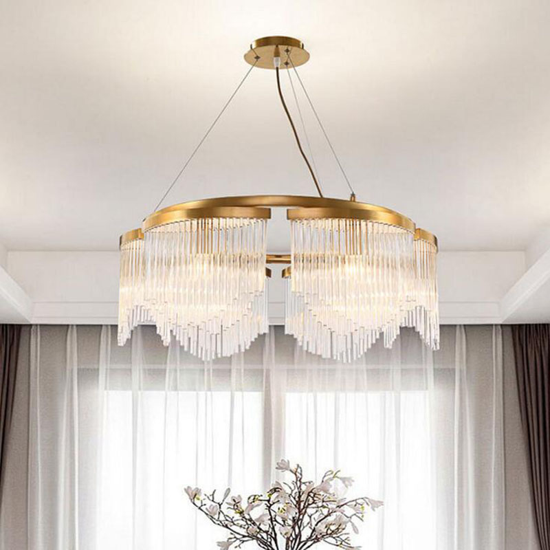 Light luxury postmodern chandelier round simple living room lamp dining room bedroom chandelier fisheye glass decorative lamps