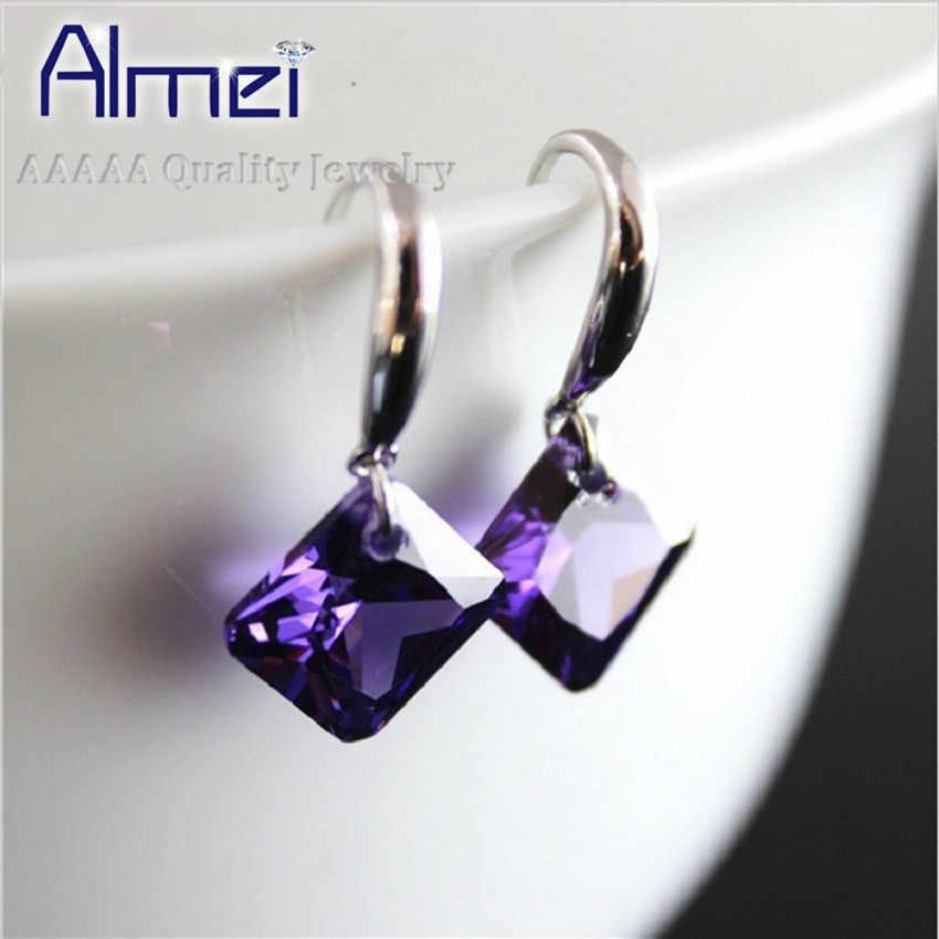 Zircone boucles d'oreilles avec des pierres colorées pour les femmes fête balancent carré cristal boucle d'oreille étoile bijoux à breloques Brincos vente WE030