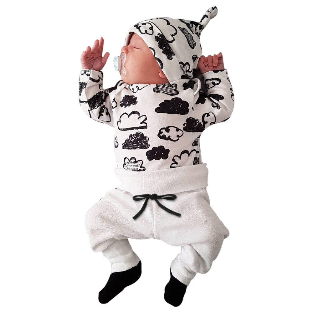 Newborn Infant Baby Girl Boy Cloud Print T Shirt Tops+Pants Outfits Clothes Set