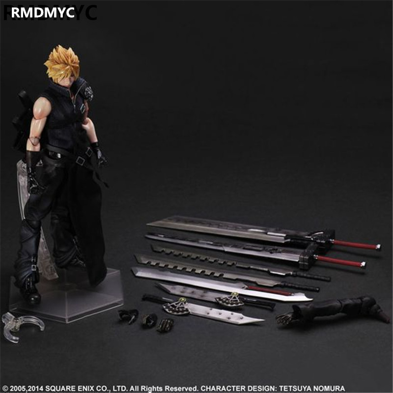 ФОТО RDMMYC Gifts Final Fantasy Action Figure Toys 28CM FF Cloud Strife Play Arts Kai Model Collectible doll FF Playarts Kai toys