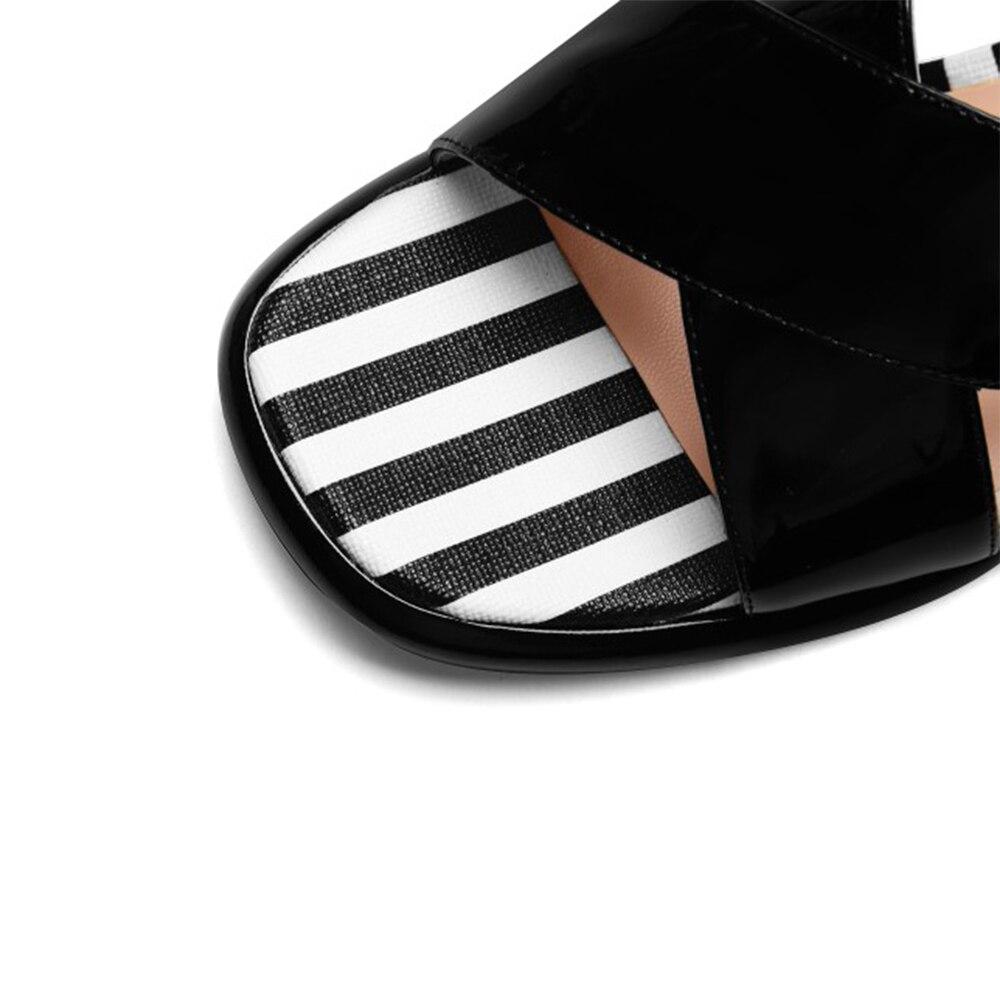 Las Mujer De Punta Rayas Sandalias Negro Señoras Genuino Verano rosado Zapatos Abierta Cuero WUwnB1WT