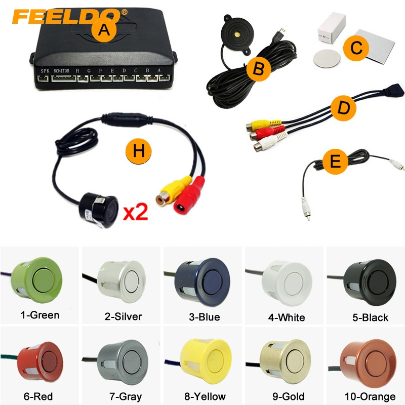 10 Color Car 8 Sensor Parking Sensor 2Pcs 18 5mm CCD Camera Dual Visual Rearview Video