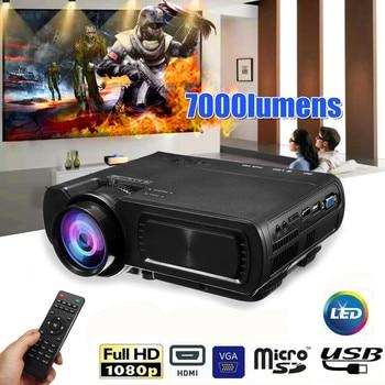 7000LM HD 1080 P T5 LCD projektör projektör USB VGA HDMI AV TF Için Ev Sineması Film
