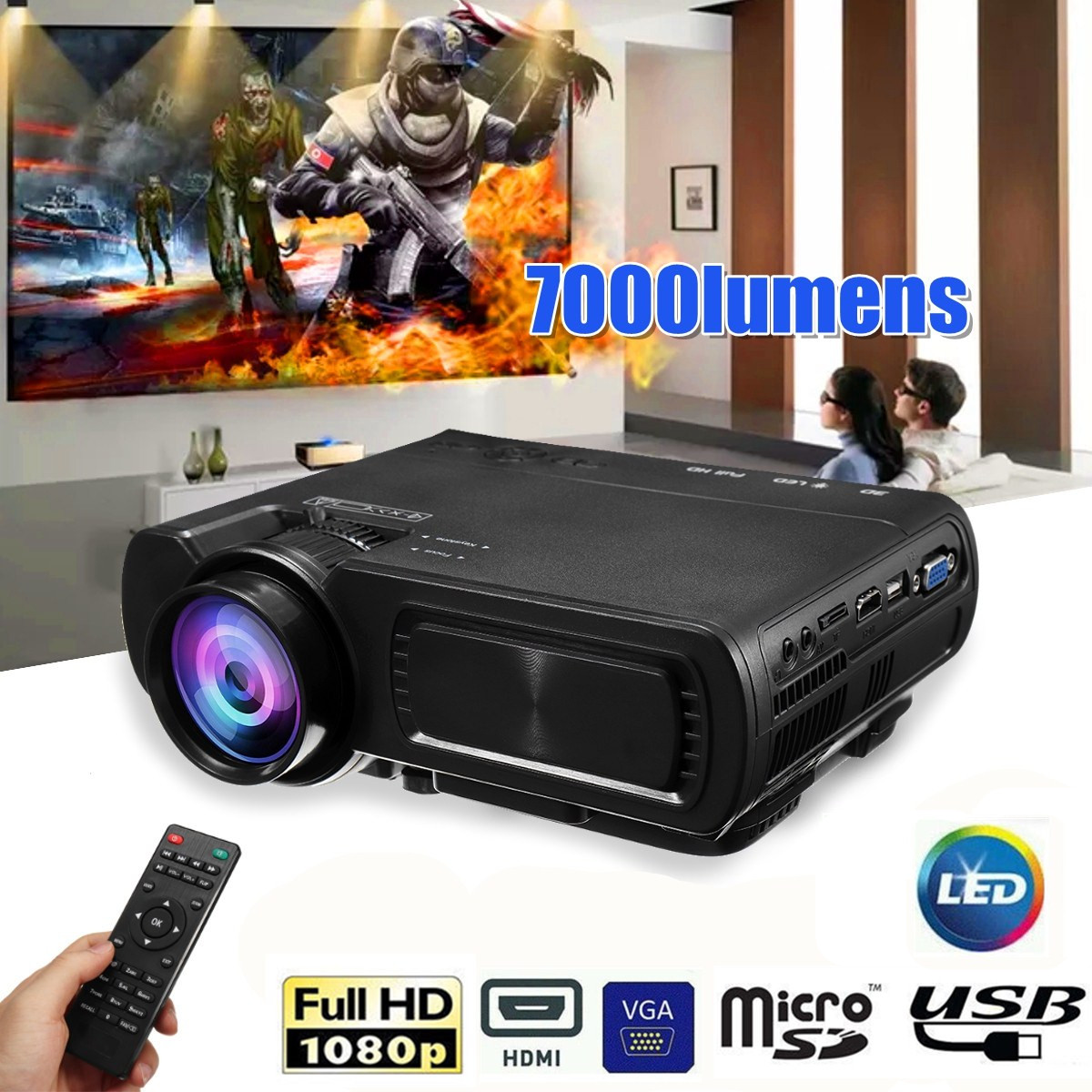 7000LM HD 1080P T5 LCD projector Beamer USB VGA HDMI AV TF For Home Theatre Movie uc28 1080p hd 400lm 16770k led lcd projector with hdmi vga slots