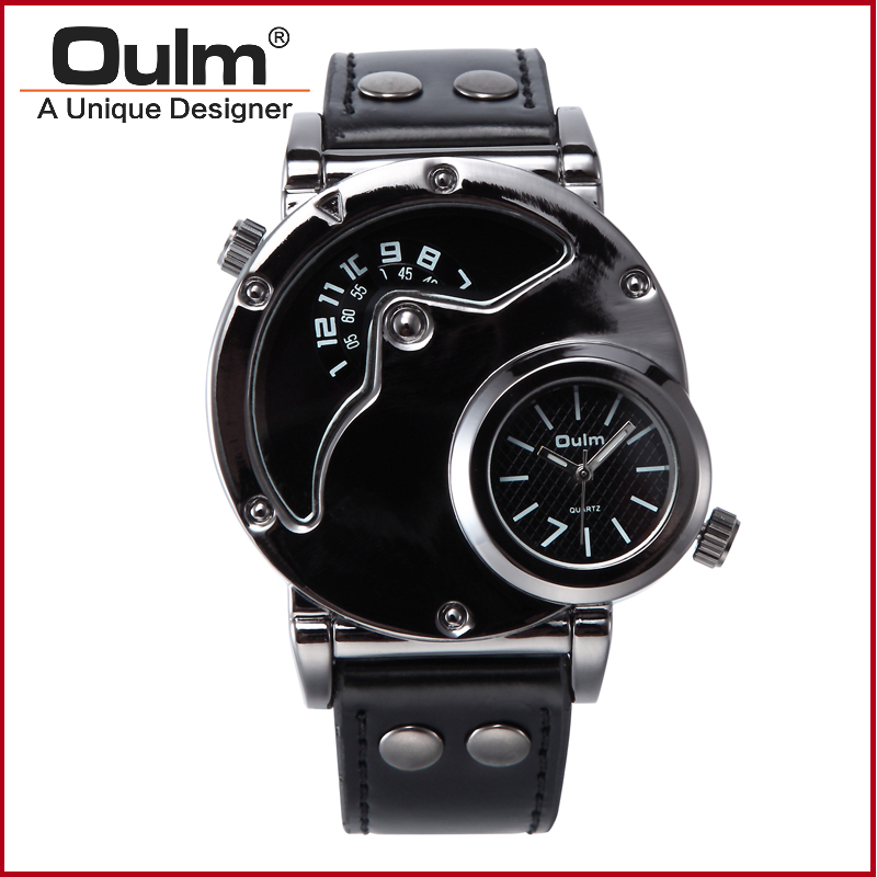 Oulm 9591 Men s Wristwatch with Dual Time Zone Leather Strap Relojes Hombre Watches Men Watch