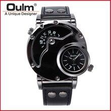 Oulm 9591 Hommes de Montre-Bracelet avec Double Fuseau horaire Bracelet En Cuir Relojes Hombre Montres Hommes Montre pour Homme Casual et Mode Style