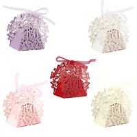 50Pcs Set Romantic Wedding Favors Decor Butterfly DIY Candy Cookie Gift Boxes Wedding Party Candy Box