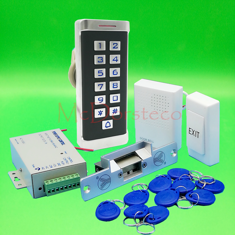 DIY Full Waterproof 125khz Rfid Access Control System Kit + NO or NC Electric Strike Lock + Power Supply Metal Keypad Door Lock diysecur 125khz rfid metal case keypad door access control security system kit electric strike lock power supply 7612