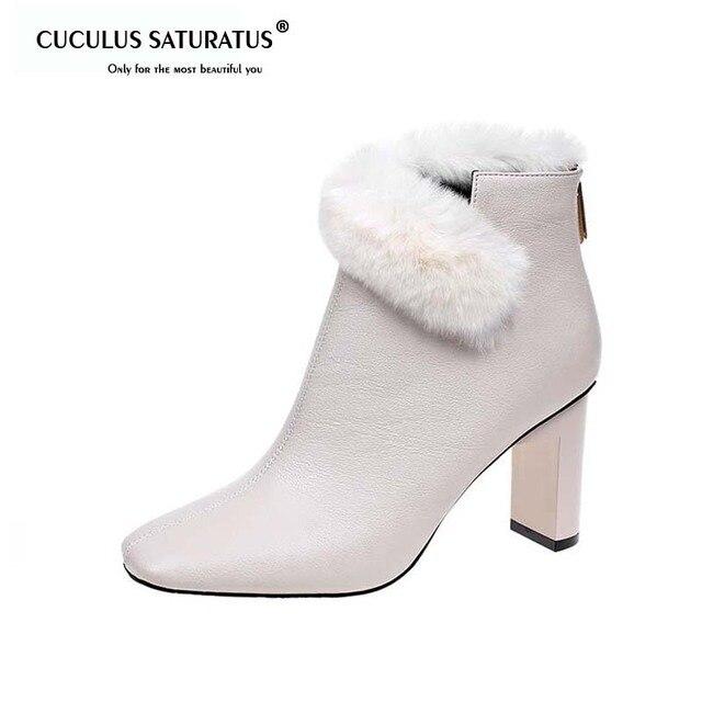 Cuculus ฤดูใบไม้ร่วงฤดูหนาวสแควร์รองเท้าส้นสูง Faux ขนรองเท้าผู้หญิงรองเท้าอุ่นแฟชั่น Femme สุภาพสตรี Boot Plush Chaussure 1437