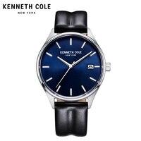 Kenneth Cole часы для мужчин Кварцевые водонепроницаемые черные кожаные с пряжкой календарь 2018 Роскошные Брендовые мужские часы KC10030836