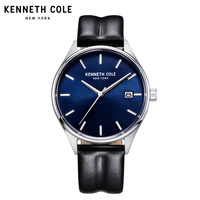 Kenneth Cole Watches For Men Quartz Water Resistant Black Leather Buckle Calendar 2018 Luxury Brand Men Wathces KC10030836