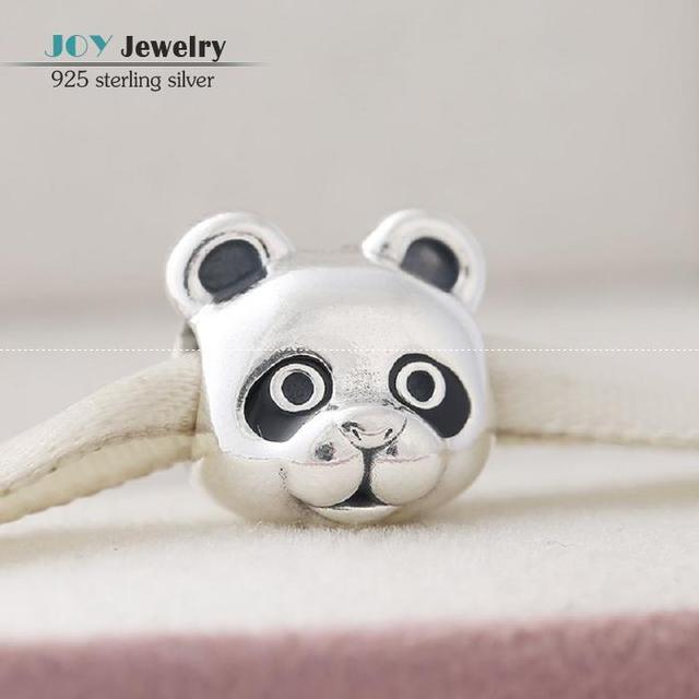 2016 Outono Preto Esmalte Encantos Panda 925 Sterling Silver Marca de Jóias Animal Rosca Bead Para Pulseiras Diy Fazer Jóias