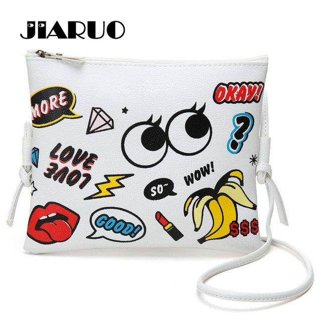 Jiaruo grandes olhos impressão de graffiti mensageiro saco bolsa das mulheres de couro macio bolsa de ombro designer de saco dos desenhos animados saco crossbody para grils
