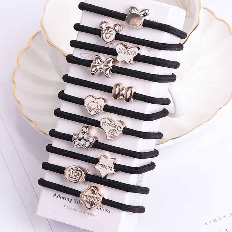 10PCS/Lot New Korean Hair Accessories For Women Black Elastic Hair Rubber Bands Girls Lovely Hair Ropes Ponytail Holder Tie Gums