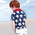 3-8 Горячие Продажа мальчики майка с коротким рукавом рубашки синий Высокой качество Лето мальчик топы Хлопок Дети футболки Мальчиков одежда