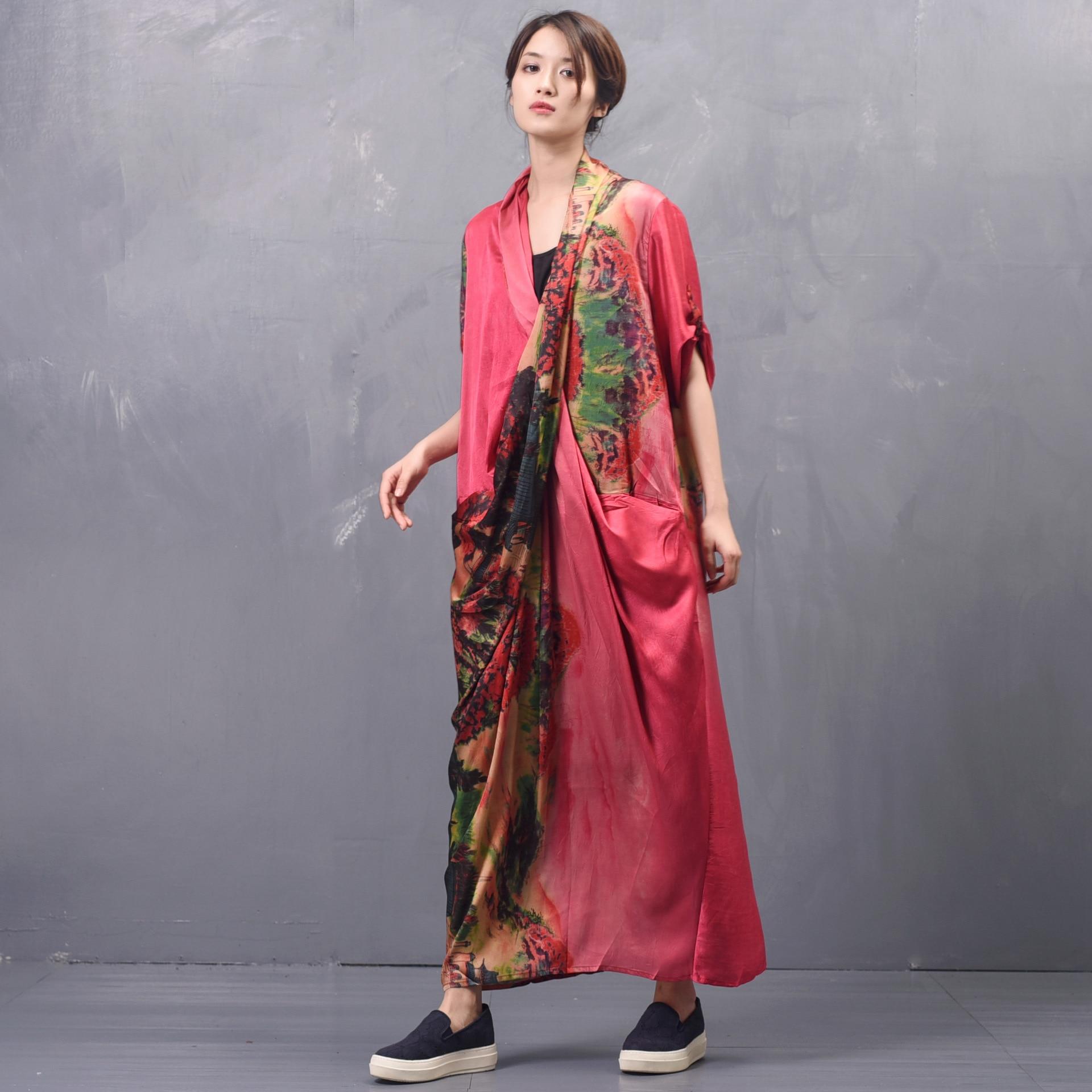 Kadın Giyim'ten Elbiseler'de Kadın İlkbahar Yaz Çapraz Gevşek Elbise Bayan Baskılı Zarif Elbise Kadın Baskı Patchwork Elbiseler 2019 Düzensiz Uzunluk Elbise'da  Grup 1