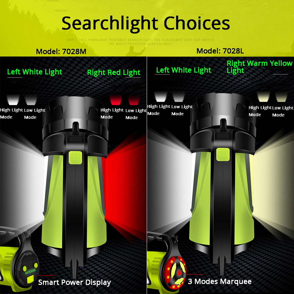1200m Bright Powerful LED Searchlight Handheld Flashlight Power Bank 4400mAh Rechargeable Battery Waterproof Torch for Outdoor in LED Flashlights from Lights Lighting