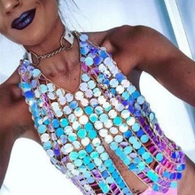 Sexy Twinkle Exaggerated  Women Sequins  Bikini Bra Chain Chest Body Chain For Women Handmade Charm Body Jewelry graceful exaggerated alloy multilayered body chain for women