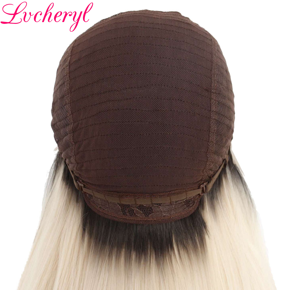 Lvcheryl 2 Tone Brown To Blonde Long Straight Hand Tied Heat Resistant Hair High Density Synthetic Lace Front Wigs for Woman