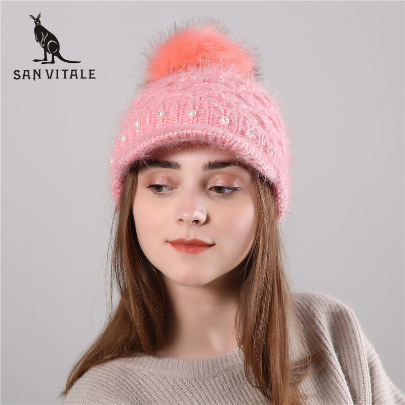 Skullies     Beanies   Hats Women Hats Winter Warm Cashmere   Beanie   Skull Plaid Fur Ski Mask For Dress Fur Pompom High Quality Designer