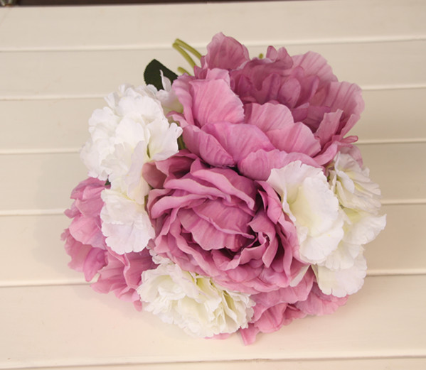 4 color Pink Purple Blue White Red silk Peony brooch Wedding bridal throw bouquet fleurs poignet blanc silk ramo boda