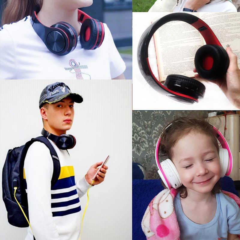 سماعات رأس لاسلكية قابلة للطي سماعة رأس بخاصية البلوتوث قابل للتعديل ستيريو سماعات مع ميكروفون TF بطاقة MP3 تشغيل سماعة للهاتف المحمول