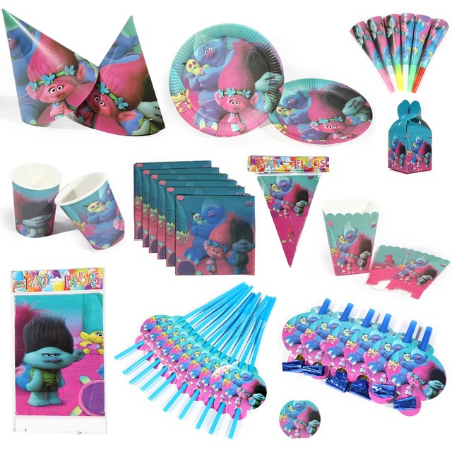 94PC Lot Wholesale Trolls Theme Napkin Flag Various Party Decoration Baby Happy Birthday Evening