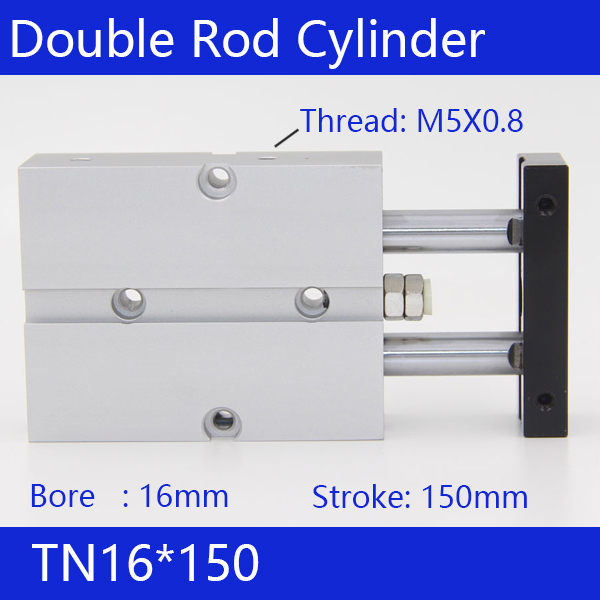TN16*150 Free shipping 16mm Bore 150mm Stroke Compact Air Cylinders TN16X150-S Dual Action Air Pneumatic Cylinder tn16 70 twin rod air cylinders dual rod pneumatic cylinder 16mm diameter 70mm stroke