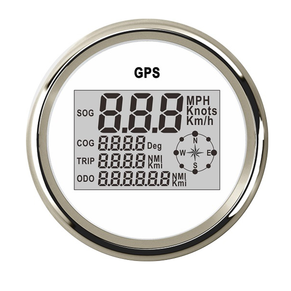 85mm Stainless Steel Speedometer Meter LCD Display 0~999 MPH Km/h GPS Digital Speedometer Gauge fit Universal Car Boat 12V/24V free shipping 85mm universal gps speedometer 0 299 mph knots km h motorcycle boat trucks black white silver with gps antenna