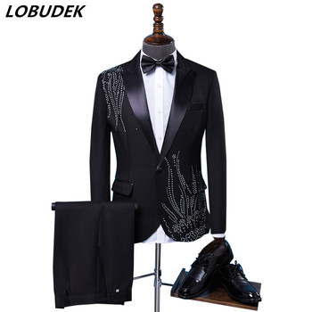 (jacket+tie+pants) Tide male Adult costume Sparkly Diamond Men Suit Bar Singer Prom Chorus Wedding master of ceremonies costume
