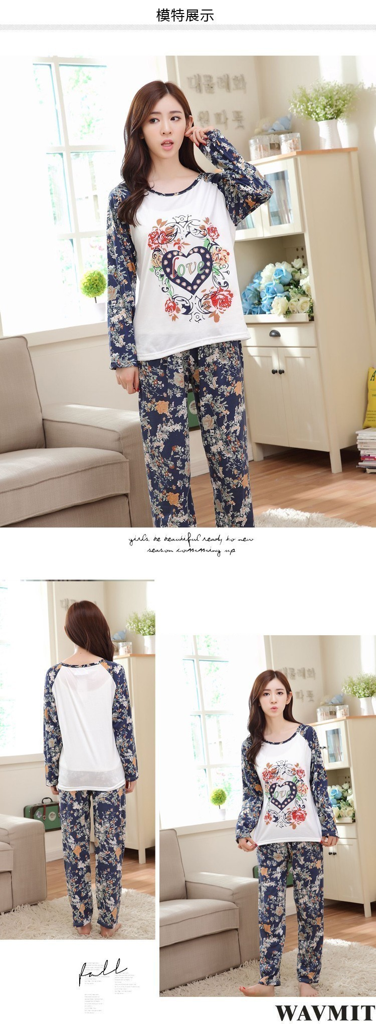 Spring Autumn 20 Style Thin Carton Generation Women pajamas Long Sleepwear Suit Home Women Female Sleep Top Wholesale Pajamas 20