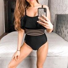 361 Off Shoulder  Swimwear for Women Ruffle Sexy One Piece Swimsuit Black Bathing Suit Slimming Swim Female
