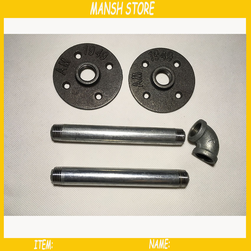 Iron Shelf Brackets DN15 Pipe Wall Holders For Home Store DIY 1/2