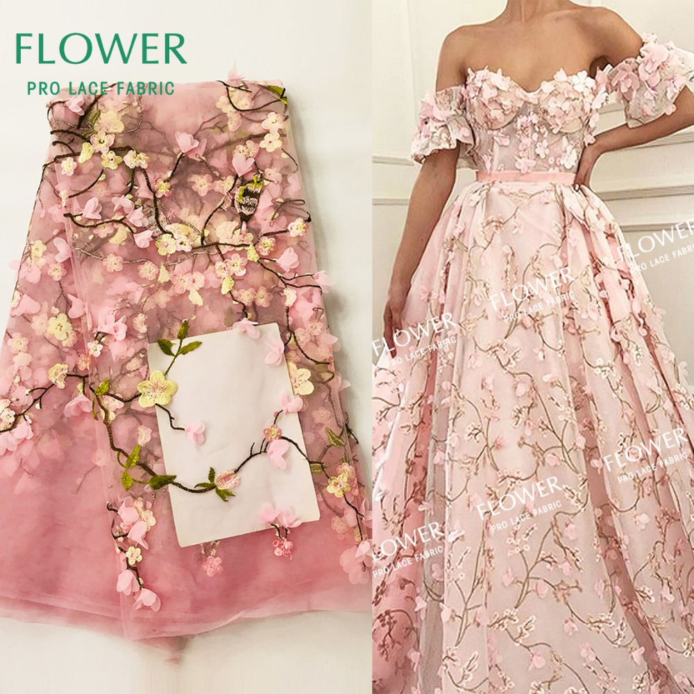 Detail Feedback Questions about 3D Applique Flower Embroidery Net Lace In  Pink Color African French Tulle Mesh Guipure Fabrics For India Lady Noble  Wedding ... 02e2c6a0bda2