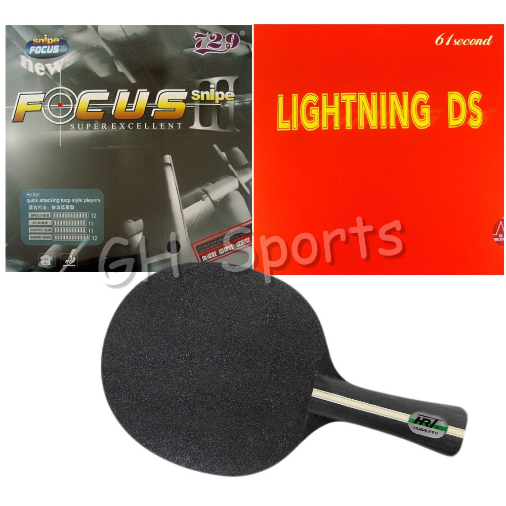 Pro Table Tennis (PingPong) Combo Racket: HRT Crystal with RITC 729 FOCUS3 Snipe Rubber 1.5mm and 61second Lightning DS rubber fur talk fashion winter russian animal fur hat white real fox raccoon fur hats for women