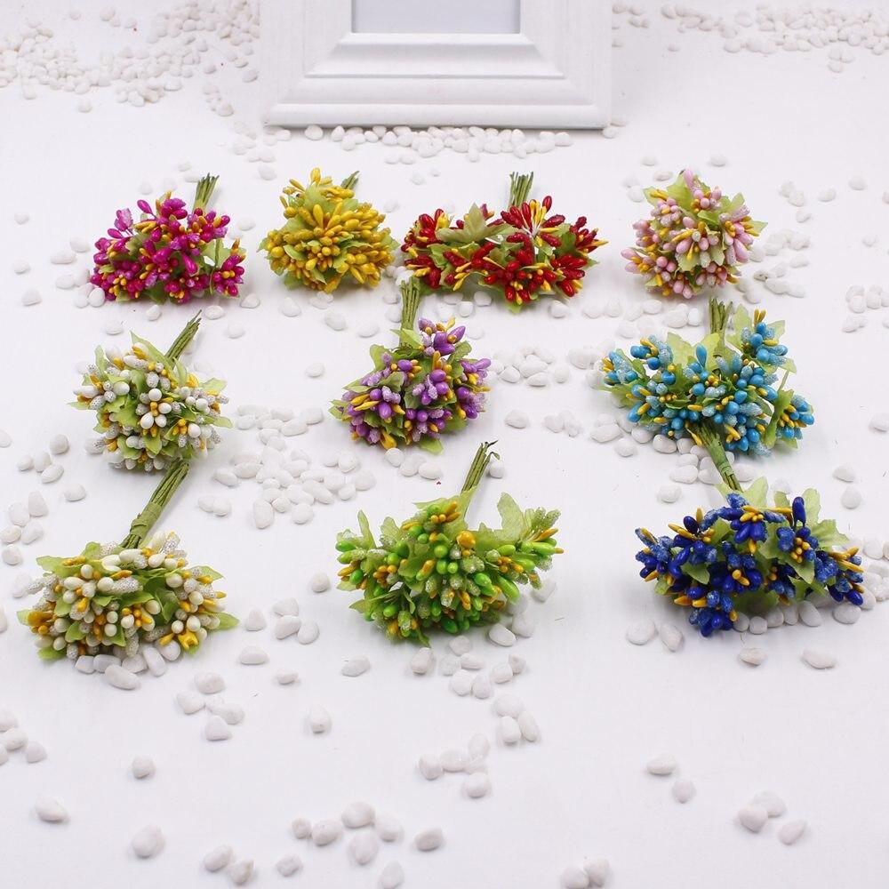 Cheap 12pcs Lot Stamens Artificial Flower Bouquet For Wedding