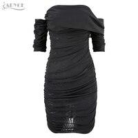 Adyce 2019 New Women Dress Elegant Celebrity Evening Party Dress Sexy Short Sleeve Black Strapless Draped Mini Dresses Vestidos