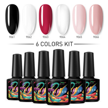 Lacheer 6Pcs /lot UV nail gel polish Color for Manicure Top Base coat glitter semi-permanent varnish