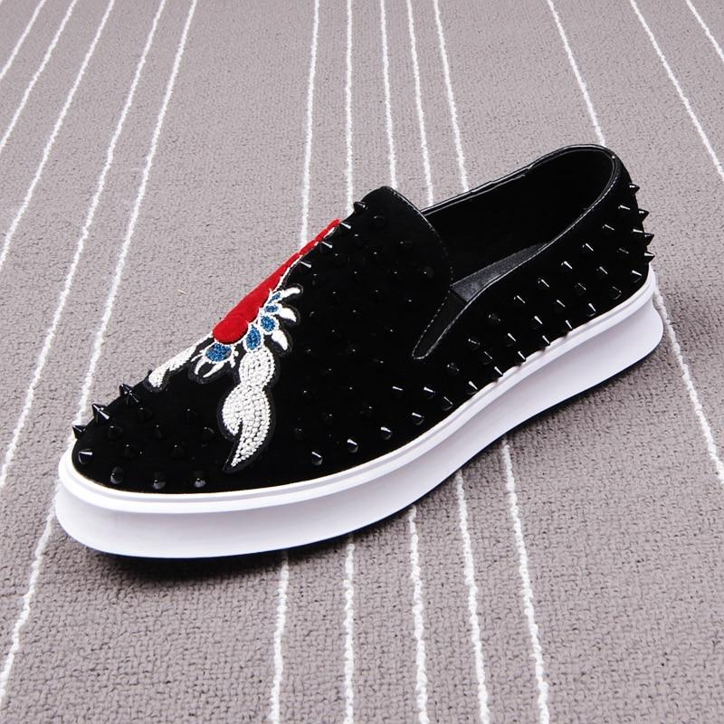 CuddlyIIPanda hommes mode Punk chaussures imprimé Scorpion baskets hommes sans lacet Rivets chaussures mâle respirant broderie animaux mocassins