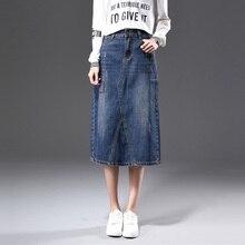 2018 Autumn Vintage Denim Midi skirts womens paragraph Package Hip High Waist A - line Jeans Long Maxi skirt for