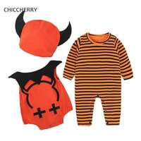 Pumpkin Halloween Outfits For Baby 3pcs Demon Boy S Hat Long Sleeve Bodysuits Roupa Infantil Menino