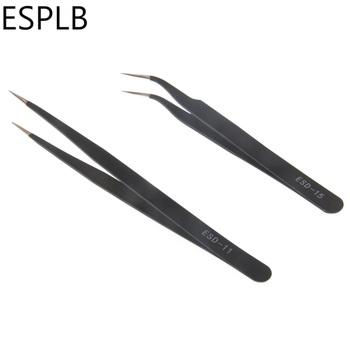 2 sztuk zestaw 1 5mm ESD 11 15 Anti Static ESD precyzyjna pęseta ze stali nierdzewnej prosto wygięta końcówka pincety dla elektroniki tanie i dobre opinie ESPLB STAINLESS STEEL Antystatyczna High-carbon steel