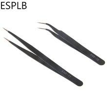 Pinças de ponta curvada anti-estática esd, 2 pçs/set 1.5mm esd 11/15 de aço inoxidável de precisão, pinças retas para eletrônica