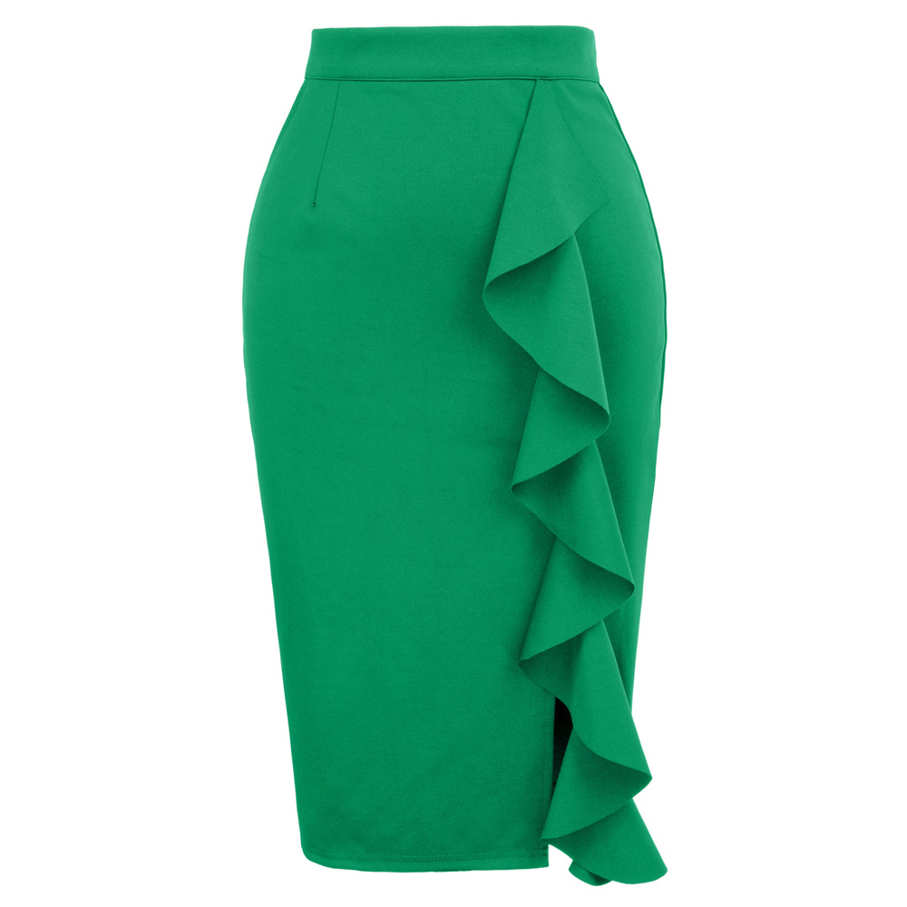 f1009f33d5 Women Bodycon Skirt High Waist Sexy Womens Big Ruffle Split Front Black  Green Ladies Business Office