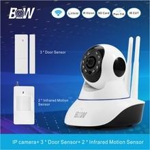 Cámara de seguridad inalámbrica ip + 3 sensor de puerta 2 infrarrojos motion sensor de alarma vinculación dispositivo wi-fi cámara sistema de vigilancia bw02d
