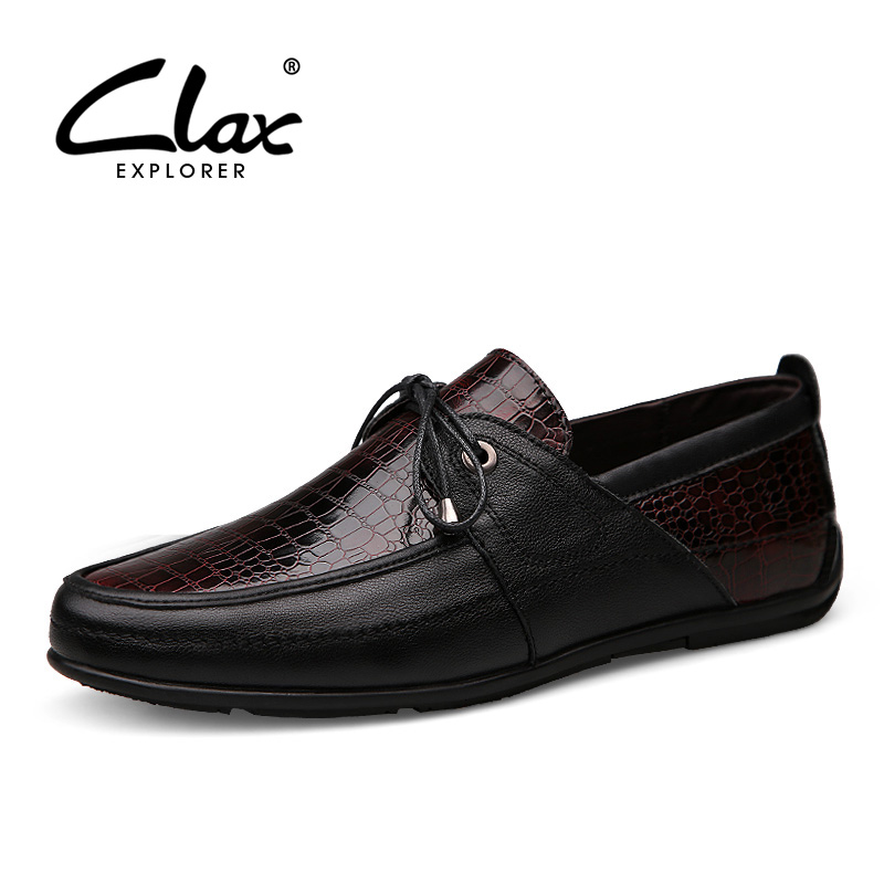 Clax Men Dress Shoe Crocodile Skin Printing Spring Autumn Male Business Formal Shoes Genuine Leather Designer Flat Wedding Shoe clax men shoes luxury brand loafers genuine leather male driving shoes slip on black dress shoe moccasin designer classical