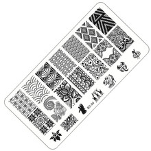 1 Sheet Lace&Flowers Series Stamping Nail Art Image Plate, 6*12cm Stainless Steel Template Polish Manicure Stencil Tools BC-04